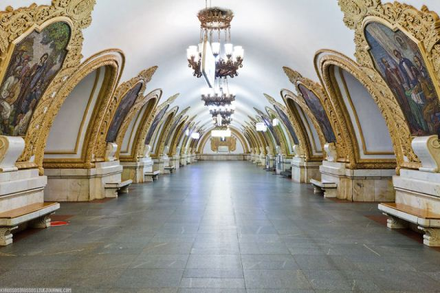 Statiile Kievskaya, Mayakovskaya si Park Pobedy, Moscova, Rusia